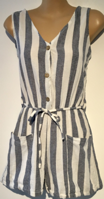 BLUE STRIPED LINEN BUTTONED PLAYSUIT SIZE UK 10